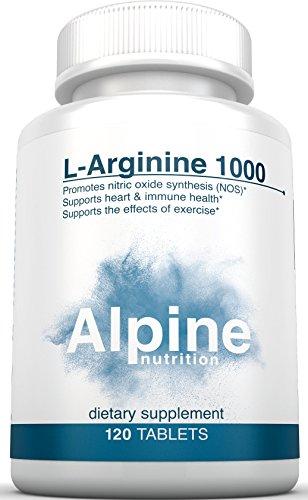 Alpine Nutrition L-Arginine 1000mg Tablets – NOS Nitric Oxide – 120 Tablets