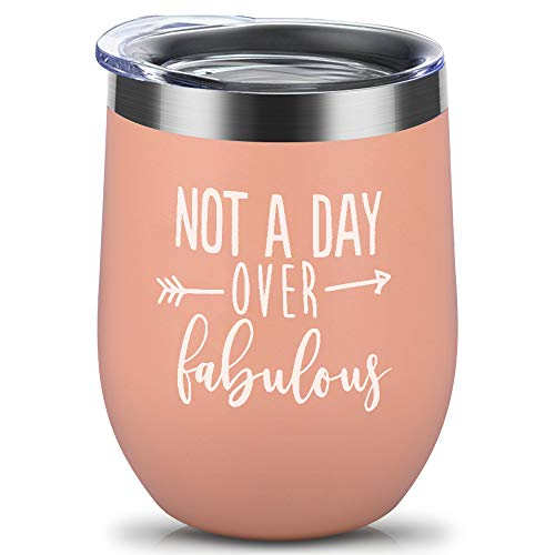 Not a Day Over Fabulous - Funny Birthday Wine Gifts Ideas for Women, Best Friend BFF, Coworkers, Her, Wife, Mom, Daughter, Sister, Aunt - Birthday Wine Tumbler-Gold ... (Best Birthday Wishes For Female Cousin)