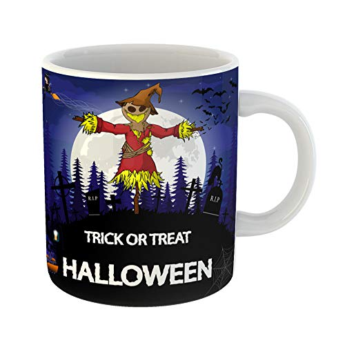 Emvency Coffee Tea Mug Gift 11 Ounces Funny Ceramic Abstract Halloween Party Scarecrow Witch Pumpkin and Lamp Adult Gifts For Family Friends Coworkers Boss -