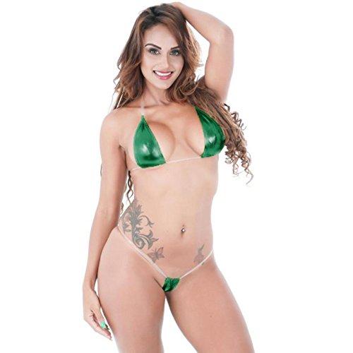 Showking Fashion Women Eye-catching Shiny Bikini Micro Halter Top + G-String Set Swimsuit Set (Green)