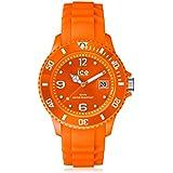 Ice SI.OE.B.S.09 - Reloj con correa de piel para hombre, color naranja / gris