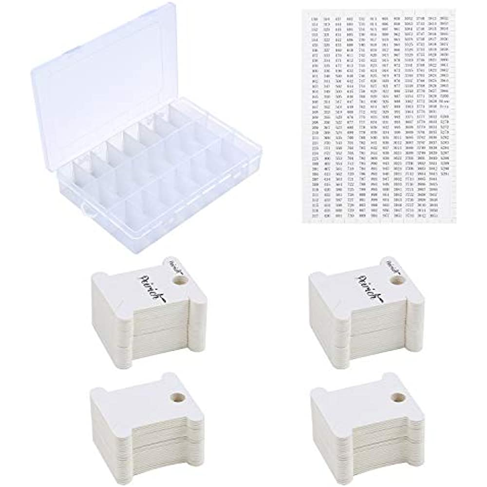 Embroidery Floss Organizer Box-17 Compartments with 100 Hard Plastic BobbiL5F6