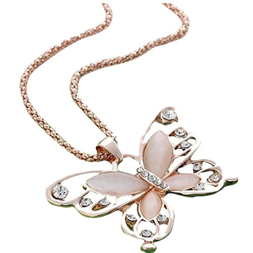 [Susenstone Fashion Womens Lady Rose Gold Opal Butterfly Pendant Necklace] (Butterfly Gold Cross)