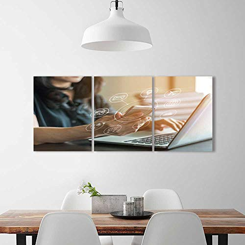 Frameless Paintings 3 Pieces Painting Internet Things Digital Marketing via Multi Channel Communication on to liven up Energize Any Wall Room.
