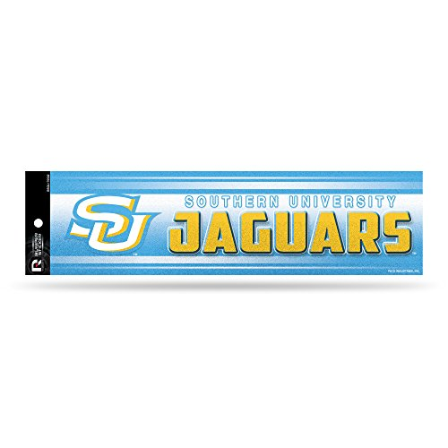 Rico NCAA Southern University Jaguars Glitter Bling Bumper Sticker, Blue, Yellow, 11-inch by 3-inch by Rico