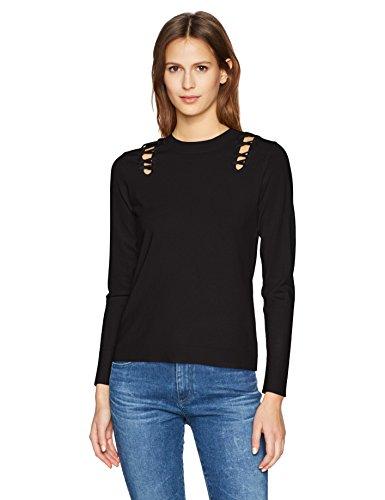 525 America Women's Crew Neck Laced Shoulder Detail Sweater, Black Medium