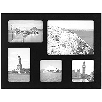 ONE WALL 12x16 Inch Multi Collage Picture Frame 5-Opening Black Wood Frame for Multiple Photos Display Two 4x6 & Two 4x4 & One 6x8 Photos - Wall Mounting Hardware Included