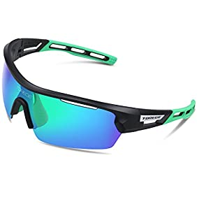 Torege Polarized Sports Sunglasses With 4 Interchangeable Lenes for Men Women Cycling Running Driving Fishing Golf Baseball Glasses EMS-TR90 Frame TR033