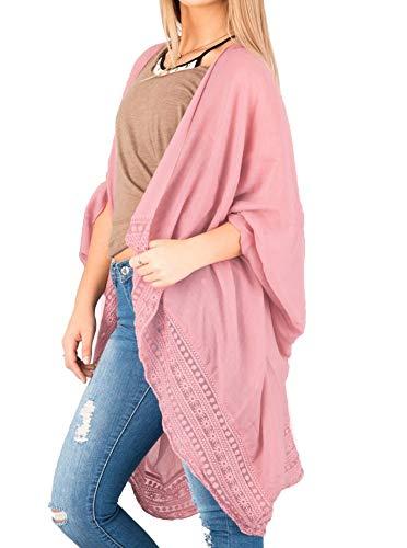 Women Lace Trim Boho Kimono Cover Up Loose Chiffon Blouse Long Cardigan Blush Large