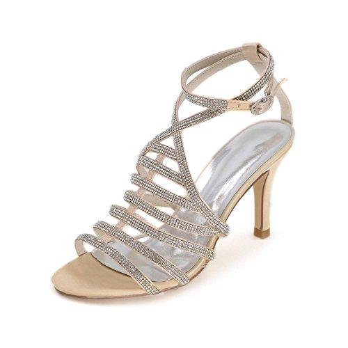 Las Otoño La Sandalias Brillante Primavera Falda Verano Boda Fiesta Zapatos yc L Noche Mujeres De Champagne Y wt5v8qY