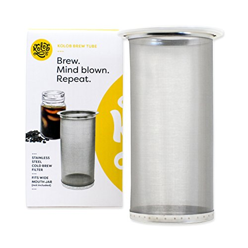 Cold Brew Coffee Maker - Brew Tube 1 or 2 Quart Stainless Steel Mesh Reusable Filter - Homemade Strong Iced Coffee Concentrate Brewer Machine | Loose Leaf Tea Infuser for Wide Mouth Glass Mason Jar