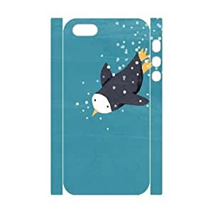 3D [Funny Animal Penguin] Penguin Diving for Fish in the Blue Sea Case For iPhone 5,5S {White}BY autodiy