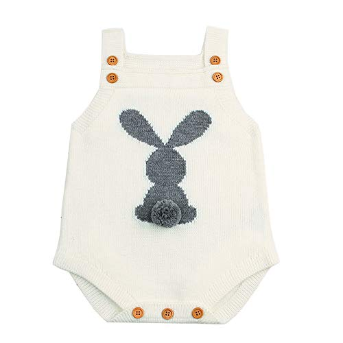 Baby Cute Rabbit - Baby Knitting Romper Infant Rabbit Outfits Cute Easter Bodysuit Clothes Sleeveless Bunny Jumpsuit Lovely Sweater (12-18 Months, Romper White)
