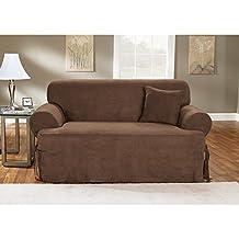 Sure Fit Soft Suede 1-Piece T-Cushion Sofa Slipcover, Chocolate by Surefit