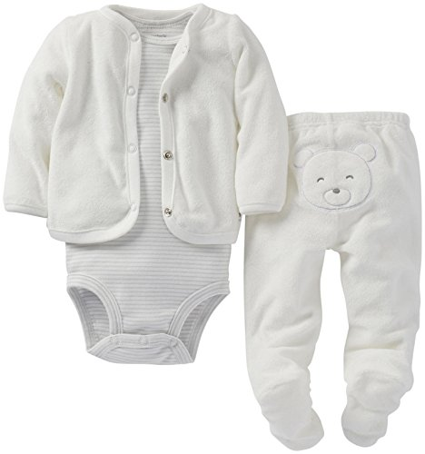 Carter's Baby Girls' 3 Piece Terry Footed Set (Baby) - Ivory - 9 ()