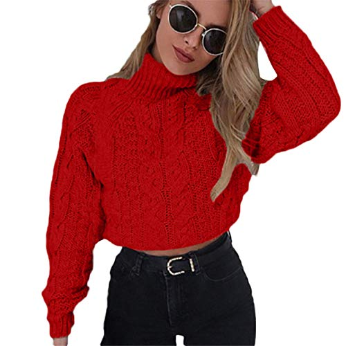 Casual Bellelove ombilicale Tricoter Tricot Femmes Crop Pull Haut d'hiver Mode Chemise Pull Rouge Col Chandail Dames Torsion 7C7X6r