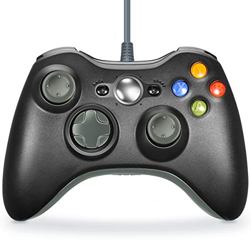 VOYEE Xbox 360 Controller - Wired Controller for Windows PC & Xbox 360 Console (Black & Grey) ()