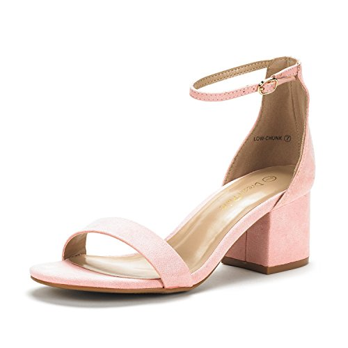 DREAM PAIRS Women's Low-Chunk Pink Suede Low Heel Pump Sandals - 9.5 M US by DREAM PAIRS