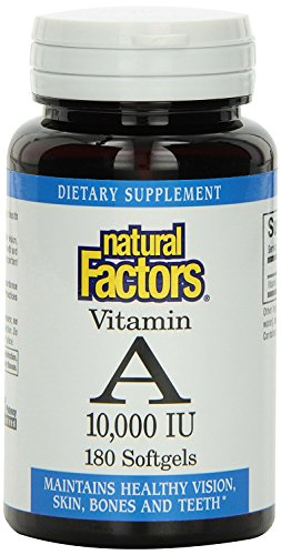 Natural Factors Vitamin A 10,000 IU, Supports Eye & Skin Health, 180 Soft Gels