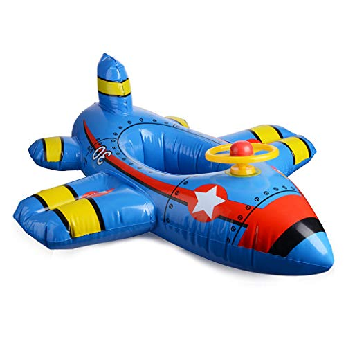- Inflatable Airplane Pool Floats, Baby Aircraft Motorboat With Steering Wheel Floating Ride-On Seat Boat Pool Ring Summer Fun Swimming Toy for Kids Toddler Infant Age 1-4 (Blue)