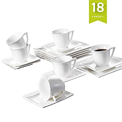 "Malacasa, Ivory White Porcelain Afternoon Tea Set, 18-Piece Drinkware Coffee Set of 6.8oz Cups, 6"" Saucers and 8"" Plates for 6"