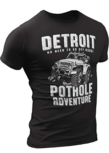 Pothole Adventure Detroit Tee Shirt by Detroit Rebels T Shirt Brand, Unisex Soft