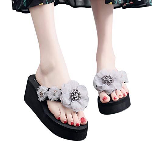 Summer Clothes Beach Shoes Simayixx Women US 5-7.5 Flat Sandals Bohemia Flower Flip Flops Teen Girls Slippers Plus Size Gray