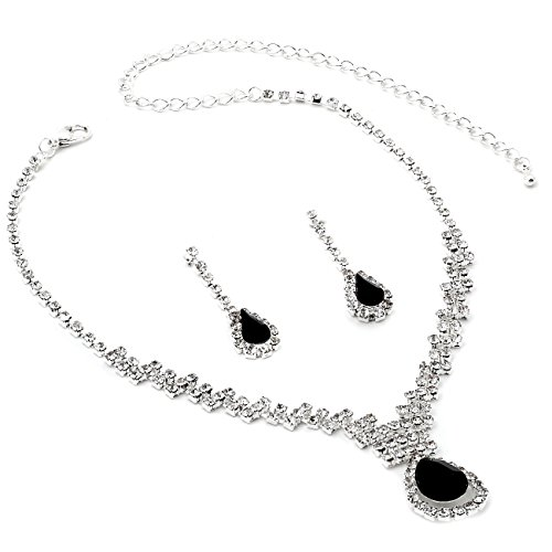 Formal Jewelry (Silver Crystal Rhinestone with Large Jet Teardrop Center Necklace and Matching Dangle Earrings Jewelry Set)