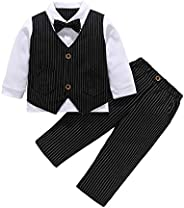 MetCuento Baby Boy Tuxedo Outfit Gentleman Bowtie Vest Suit for Birthday Wedding Party Clothes Set 9 Months-4