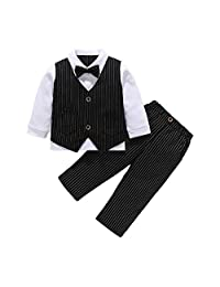 MetCuento Baby Boy Tuxedo Outfit Gentleman Bowtie Vest Suit for Birthday Wedding Party Clothes Set 9 Months-4 Years