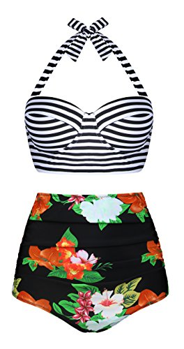 EasyMy Vintage Acanaló el Bikini del Bañador de Alta Cintura Naranja-1