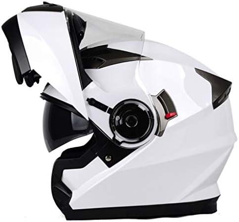 NJ ヘルメット- オートバイヘルメットの男性と女性は完全にオープンフェイスヘルメット防曇二重レンズヘルメットをカバー (色 : 白, サイズ さいず : Xl xl)