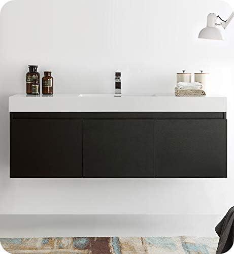 Fresca Mezzo 60 Black Wall Hung Single Sink Modern Bathroom Cabinet w Integrated Sink