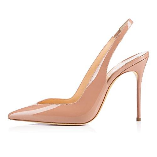 Eldof Womens Pumps Punta A Punta, Décolleté 10cm, Taglio Out Toe Style, Slip On Sandali, Classici Tacchi Per Ufficio Beige