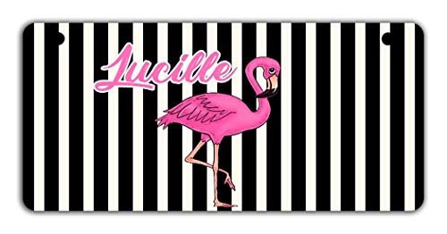 BRGIftShip Personalized Custom Name Black and white stripes Bright Pink Flamingo Motorcycle Golf Cart 4