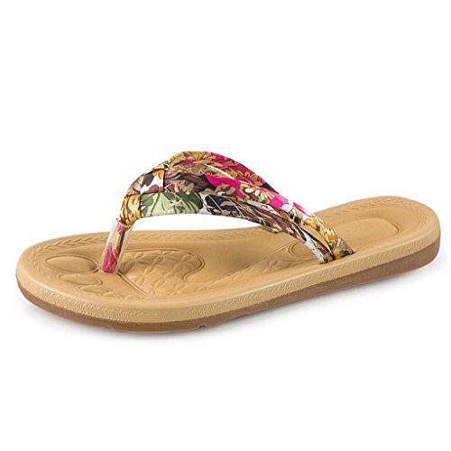 Ouneed® Sommer Damen arbeiten Sommer flachen Flip Flops Sandalen Slipper Böhmen Strand Schuhe Flip Flops Erwachsene Zehentrenner Rot