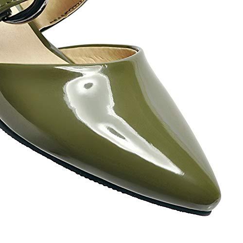 Esercito Maiale Donna Puro Di Agoolar Verde Pelle Fibbia Basso Tacco Gmmlb010372 Sandali qadBnvnW