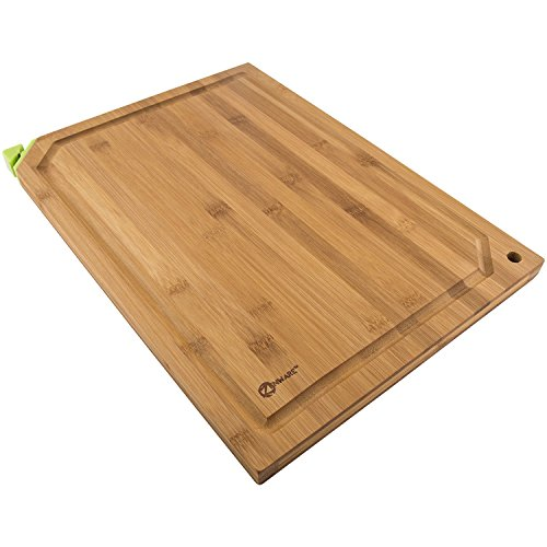 Zenware 3 Piece Triple-Ply Warp Resistant All Natural Bamboo Cutting Board Set - Choose Your Size (Cutting Board w/ Built In Knife Sharpener)