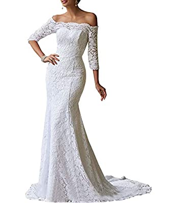 Women's Mermaid Wedding Dresses Off The Shoulder 3/4 Sleeves Lace Bridal Gown with Train