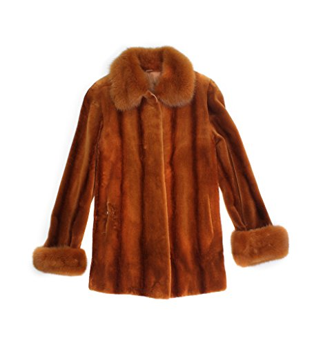 13934 New Cognac Brown Sheared Mink Sable Fur Trim Stroller Coat Jacket 8 Small