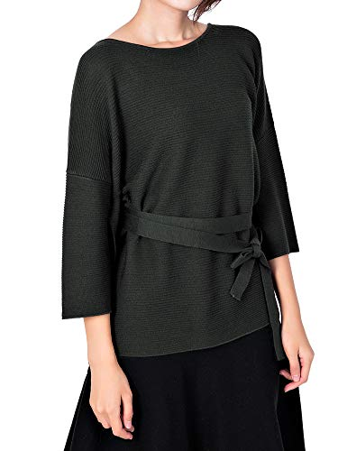 (Li & Zi Wool Blend Belted Sweaters for Women Side Slit Pullover (Deep Green, M))
