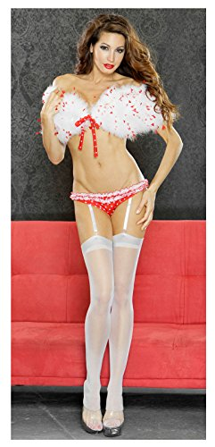 Fantasy Lingerie Women's Marabou Shrug/Ruffled Gartered Panties Red (Large)