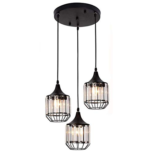 Creatgeek 3 Lights Crystal Pendant Light Fixture, Elegant Traditional Chandelier for Dining Room, Living Room