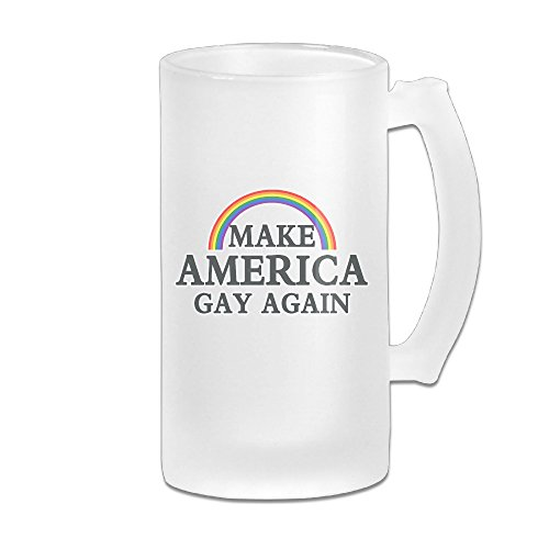Make America Gay Again Rainbow Frosted Glass Beer Stein Drink Mugs - Funny 16OZ Beer Mug (Glass Frosted Stein)