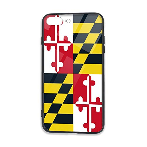 Cellphone Protector Cover with TPU Bumper and Tempered Transparent Clear Glass Back for iPhone 7/8 Plus Printed Designs Free Hand and Comfortable to Hold Maryland Flag -