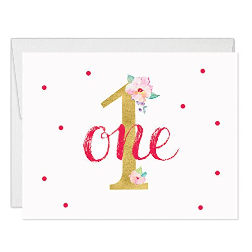 Baby Girl's 1st Birthday Thank You Cards with Envelopes ( Pack of 25 ) Folded Blank Pink Floral First Birthday Celebration Thanks Gracias Notes Children Child Kids B'day Party Excellent Value VT0014B]()