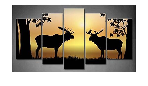 Amazon.com: First Wall Art - 5 Panel Wall Art Moose At Sunrise ...