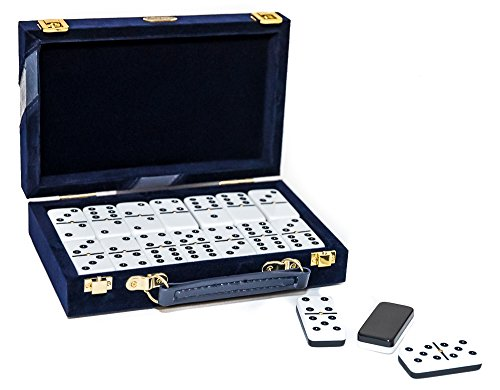 (Fashion Avenue Designer Double Six Two Tone Professional Jumbo Size Tournament Dominoes Set with Spinners)
