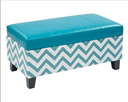 Terrific Zig Zag Storage Ottoman Blue By Office Star Products Amazon Ocoug Best Dining Table And Chair Ideas Images Ocougorg