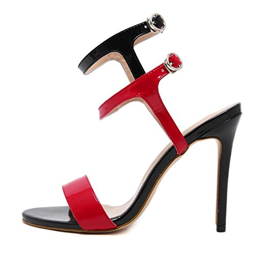 6 Sexy Dito Lavoro Tacco Sbirciare Scarpe del alto Caviglia UK 39 sandali piede Fibbia 5 Stiletto 6 Vestito Cinghia Festa Nero Donna Discoteca EUR 1qv6xwd1